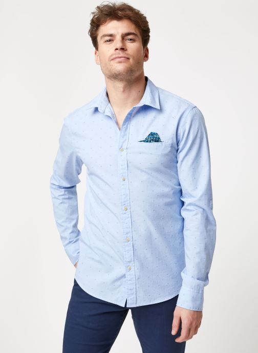 Vêtements Scotch & Soda REGULAR FIT- Shirt with sleeve collectors and fixed pochet Bleu vue droite